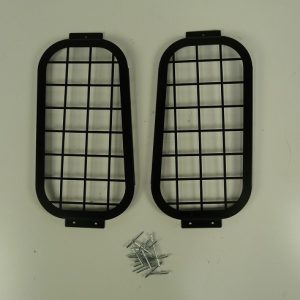 Defender Rear Door Side Window Grills - Aluminium & Black Powder Coated-0