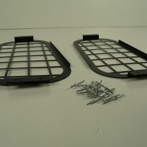Defender Rear Door Side Window Grills - Black Steel-0
